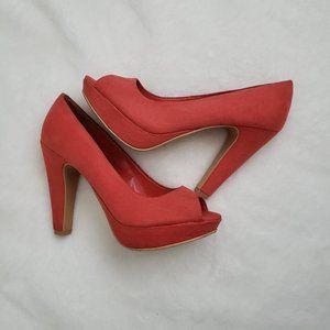 3/$30 Bright coral peep toe heels